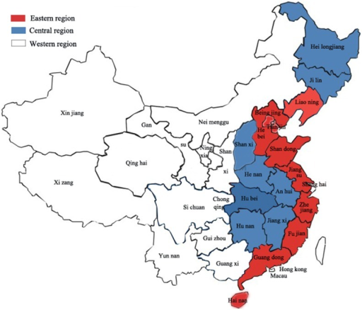 Map Of China With Geographical Divisions A Map Shows The Locations Of Eastern Central