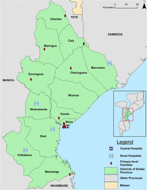 Map of health facilities providing outpatient mental healthcare services in Sofala Province, Mozambique, as of 2014
