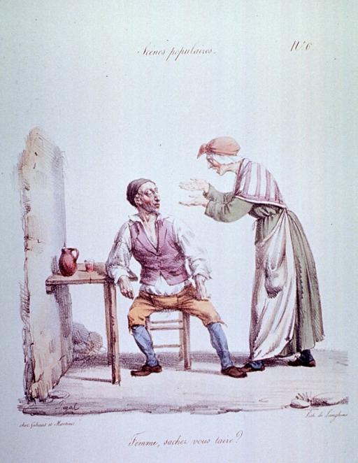 <p>Caricature:  An old woman is screaming at a man sitting in a chair at a table against the wall.</p>