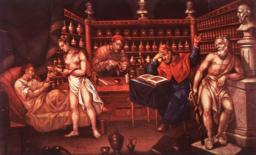 <p>Interior view of a pharmacy showing the physician consulting medical texts, a pharmacist preparing a prescription and a patient being attended to by Hygeia (patron goddess of pharmacy).  Asklepios, leaning against a bust of Hippocrates, observes.</p>