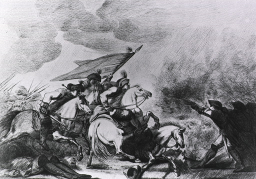 <p>Soldiers on horseback advance into line of infantrymen.</p>
