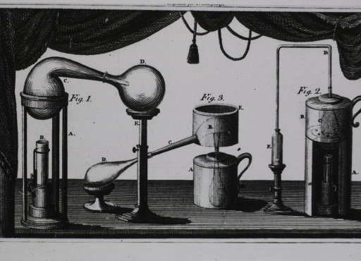 <p>Three sets of chemical apparatus framed by decorative drapery.</p>