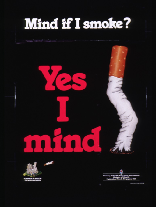 <p>Black poster with white and fuchsia lettering.  Initial title words at top of poster.  Remaining words in left center.  Visual image on poster is an illustration of a cigarette that has been snuffed out and is now wrinkled and bent.  Logo and address for publisher in lower right corner of poster.</p>