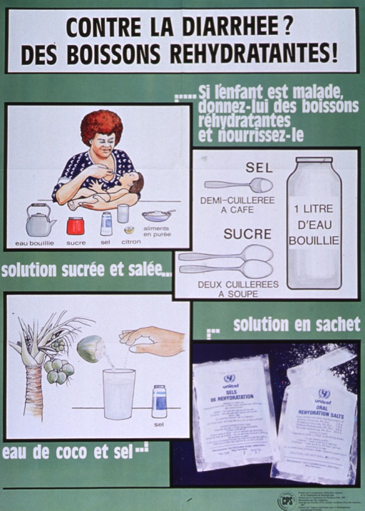 <p>Green poster with black and white lettering.  Title at top of poster.  Note below title.  Poster features three illustrations and a color photo reproduction.  In upper left, a mother holds and feeds her sick child.  The ingredients for a rehydration drink are laid out in front of her.  In upper right, a bottle of water and three spoons depict the measurements for a rehydration drink.  In lower left, a different solution is represented by a coconut tree, an open coconut, and a salt shaker.  The photo is in the lower right, showing pre-packaged rehydration salts.  Publisher and sponsor information in lower right corner.</p>