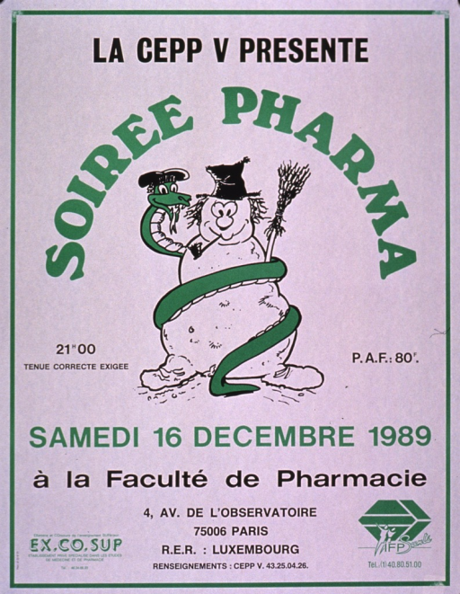 <p>Predominantly white poster with green and black lettering announcing a party for pharmacy students in Dec. 1989.  Publisher information at top of poster.  Title below, forming an arc around an illustration of a serpent coiled around a snowman.  Note text below illustration.  Sponsor information at bottom of poster.</p>