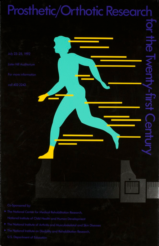 <p>A person is walking with a long stride.  One foot is on a measuring device.  Yellow lines are adjacent or on the walker. Text and event information in purple print.</p>