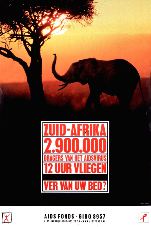 <p>Color poster with red and black lettering.  The title is set in a white box on a background of a elephant next to a tree at sunset.  At the bottom are the contact information for Aids Fonds and two logos, including an AIDS ribbon.</p>