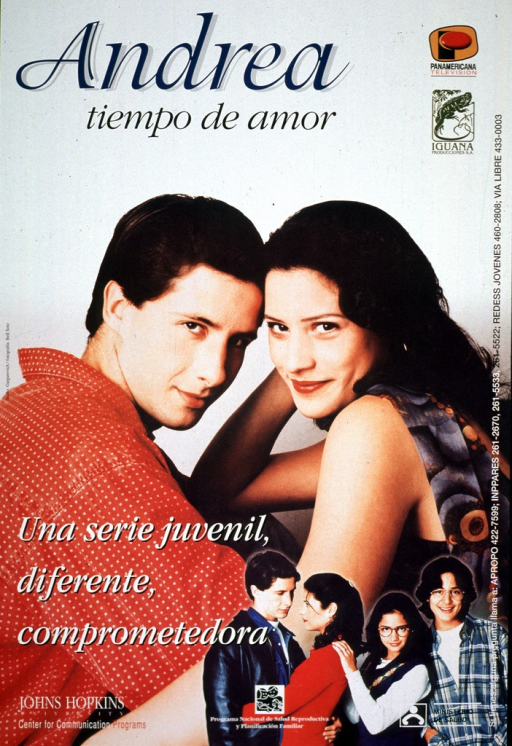<p>Multicolor poster with multicolor lettering advertising what appears to be a television series.  Title at top of poster.  Two logos in upper right corner.  Visual image is a reproduction of a color photo of a teenage boy and girl in a casual embrace.  Smaller photos of that couple and another boy and girl are superimposed in the lower right corner.  Caption superimposed near lower left corner.  Publisher and sponsor information at bottom of poster.</p>