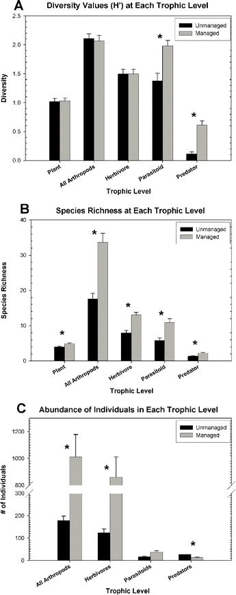 Shannon-Weiner Index (H') (A), species richness (B), and abundance (C) for each trophic guild. Asterisks (*) indicate significant differences between management types (P1,79 < 0.0001). Grey bars = managed; black bars = unmanaged.