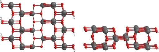Model of (100) TiO2 anatase surface, top (left) and side (right) views; oxygen atoms in red, titanium atoms in gray