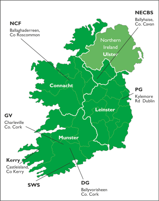 Location of the seven milk-recording organisations within the four provinces of Ireland that participated in a survey of anti-Leptospira antibodies in bulk tank milk. DG = Dairygold Ltd; GV = Golden Vale; Kerry = Kerry Agribusiness; NCF = North Connacht Farmers Co-op Society Ltd.; NECBS = North Eastern Cattle Breeders Society; PG = Progressive Genetics; SWS = South Western Services.