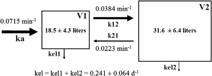 Mean kinetic parameters within a two compartment model and volume of the central (V1) and peripheral compartment (V2) (mean ± SD). ka rate constant of water absorption in the central compartment; k12 and k21 rate constant of water transfer between V1 and V2, and V2 and V1; kel rate constant of elimination from the central and peripheral compartments (kel1 and kel2, respectively)