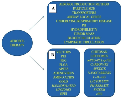 Aerosol gene therapy modality parameters; (A) formulation and lung microenvironment; (B) current and future vector systems. Figure by Paul Zarogoulidis.