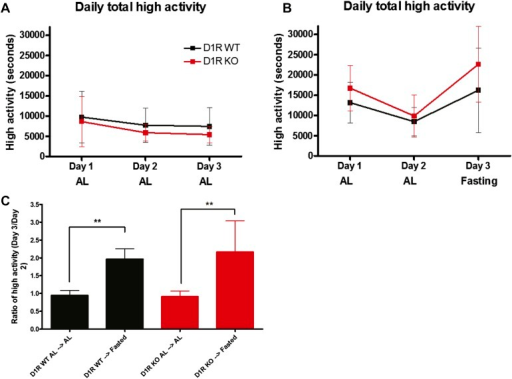 Activity of acutely fasted D1R KO and WT mice.(A) Total number of seconds of high intensity activity (walking, hanging, jumping, or rearing) for D1R KO (n = 6 KO) and WT (n = 12) mice on 3 consecutive days of ad libitum diet. (B) Total number of seconds of high intensity activity for D1R KO (n = 7) and WT (n = 14) mice on 3 consecutive days. On day 1 and day 2 all mice were on an ad libitum diet, but on the third day all mice were deprived of food. (C) The ratio of total seconds of high activity on day 3 divided by total seconds of high activity on day 2. Bars show medians and interquartile ranges. The statistical test used was Mann–Whitney, where ** indicates p < 0.01.DOI:http://dx.doi.org/10.7554/eLife.03781.011