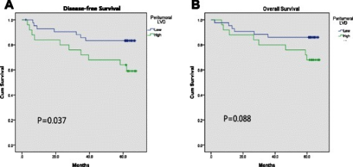Survival curve according to the peritumoral lympho-vascular density (P-LVD). a Disease-free survival, b overall survival
