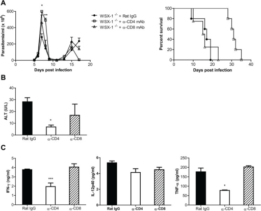 Depletion of CD4+, but not CD8+, T cells significantly reduces the production of inflammatory cytokines and the serum activities of ALT, and enhances the survival of IL-27R-/- (WSX-1-/-) mice infected with T. congolense.IL-27R-/- mice were infected with T. congolense, and treated with 0.5 mg rat anti-mouse CD4 mAb, rat anti-mouse CD8 mAb, or rat IgG on day 0, 2, 4, and 6 after infection, respectively. (A) Parasitemia and survival of the IL-27R-/- mice (n = 4–5) infected with T. congolense. (B) Serum ALT activities were assessed in IL-27R-/- mice (n = 4) on day 7 after infection with T. congolense. (C) Plasma levels of IFN-γ, IL-12p40, and TNF-α of IL-27R-/- mice (n = 4) on day 7 after infection with T. congolense. Data are presented as the mean ± SEM. The results presented are representative of 2 separate experiments.