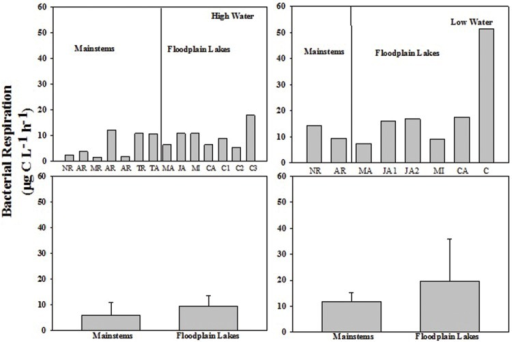 Bacterial respiration (BR; μg C L-1 h-1) across the Amazon River system in HW (left upper panel) and LW (right upper panel). CA, Cabaliana; JA, Janauacá; NR, Negro River; RAR, Amazonas River; MR, Madeira River; MI, Miratuba; C, Curuai; TA, Tapajós River. Average and standard deviation for the mainstems and floodplain lakes in HW (left bottom panel) and LW (right bottom panel).