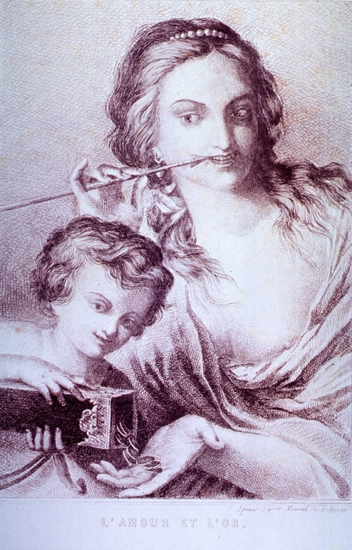 <p>A woman (Love) cleans her teeth with an arrow as a cherub pours gold from a box into her hand.</p>