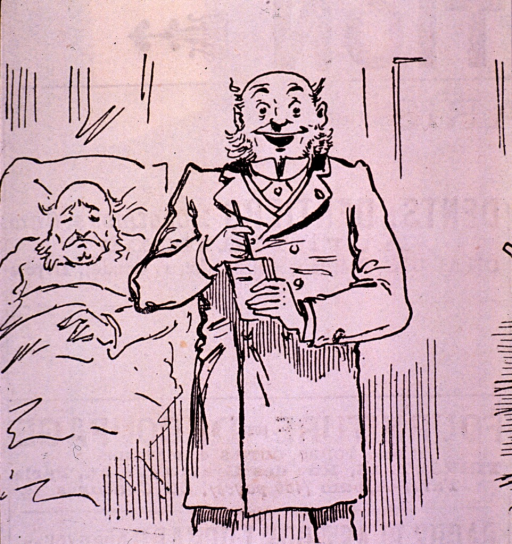 <p>Caricature:  A physician standing at a patient's bedside; he is considering the use of experimental remedies.</p>