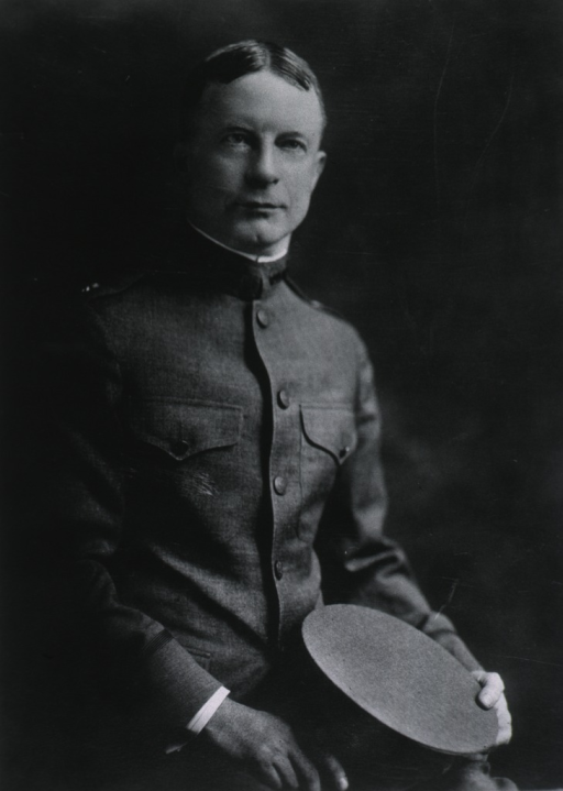 <p>Half-length, seated, right pose, full face; wearing uniform (Major).</p>