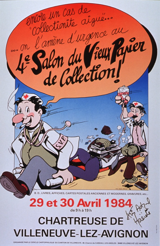 <p>White poster with black and red lettering announcing show, Apr. 1984.  Also lists location, time, and organizers.  Title at top of poster in cartoon caption bubble.  Central visual image on poster is a cartoon-style illustration showing two men dressed as medics running and carrying a man on a stretcher.  The medic at the front of the stretcher gives the title.  The medic at the rear of the stretcher holds an IV bottle aloft.  The man on the stretcher is green.  He has several books and papers stacked on his stomach.  Remaining textual information appears below cartoon.  Poster bears artist's signature in black marker.</p>