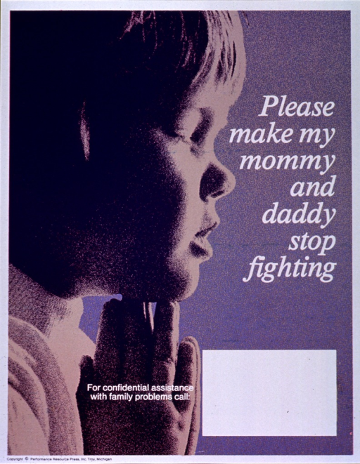 <p>Purple and white poster with white lettering.  Title on right side of poster.  Visual image is a halftone photo of a young child praying.  Space near bottom of poster for contact information, though none given.  Publisher information at bottom of poster.</p>