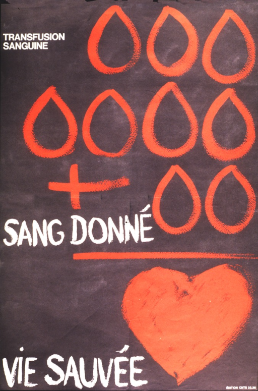<p>The image is in the pattern of a math problem.  Three rows of blood drops and a plus sign are above a line with &quot;sang donne.&quot;  Below the line next to &quot;vie sauvee&quot; is a large red heart.  At the top of the poster it says &quot;Transfusion sanguine.&quot;</p>