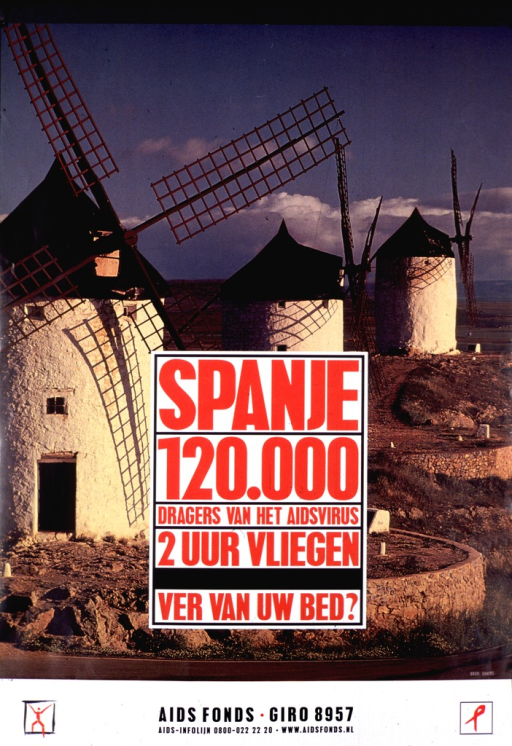 <p>Color poster with red and black lettering.  The title is set in a white box on a background of three windmills in a rocky landscape.  At the bottom are the contact information for Aids Fonds and two logos, including an AIDS ribbon.</p>