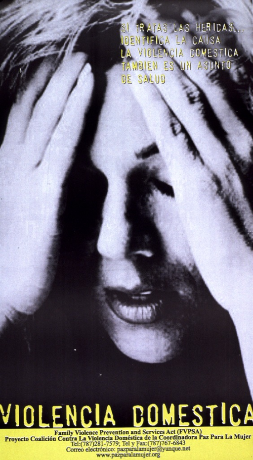 <p>Black and white photograph with yellow and black lettering. Face of woman in emotional distress (eyes closed, hands at forehead) dominates the poster. Subtitle is superimposed at top, while the poster title is at bottom with information about the publishing organization (phone number, etc. ) at very bottom.</p>