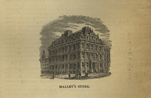 <p>An engraving of the daytime street side corner view of the Malley's department store in New Haven, Connecticut. It shows a massive multi-story building with people milling on the sidewalk in front of it and in the street.</p>