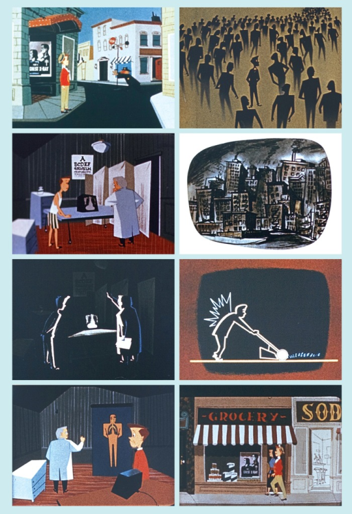 <p>A series of 8 images taken from the modernist cartoon animation, Rodney.  Images show Rodney doing his daily activities and seeing his doctors for check ups. There is also an image of a polluted city.</p>
