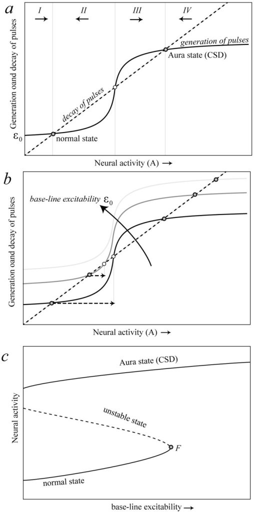 Graphical model showing how a tipping point for cortical spreading depression can arise.a) Three equilibriums may occur at intersection points where the rate of generation of new pulses (sigmoidal curve) equals the rate of decay (dashed line) of neural pulses. Activity increases when the generation of new pulses exceeds the decay of pulses (sections I and III) and decreases in the other sections (sections II and IV). It can be seen from the arrows representing this direction of change that the middle intersection point is a repellor that marks the border between the basins of attraction of the two alternative stable states. b) Increasing base-line excitability promotes the generation of new pulses causing the unstable equilibrium (open dot) and the stable normal state (left hand solid dot) to move closer together. This reduces resilience of the normal state in the sense that a smaller perturbation is needed to invoke a shift to the Aura state (horizontal dashed arrows in panel). c) Plotting how the intersection points representing equilibriums move as a function of base-line excitability, a catastrophe fold arises. The fold bifurcation point (F) marks the loss of stability of the normal state.