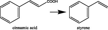 Trans-cinnamic acid is converted in a decarboxylation reaction to styrene.