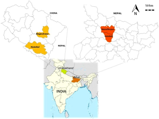 Location of the two case studies in India