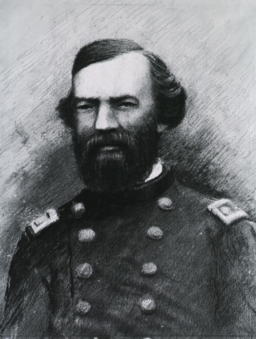 <p>Head and shoulders, front.  In Civil War uniform.</p>