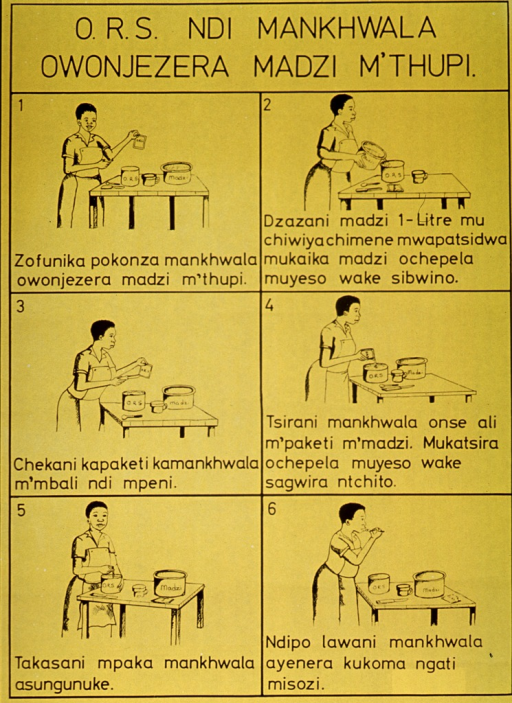 <p>Bright yellow poster with black lettering.  Title at top of poster.  Visual images are six illustrations depicting a woman mixing oral rehydration solution with water.  Each illustration also has a caption.</p>