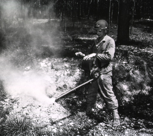 <p>A serviceman in military uniform operates a hand-held sprayer in a wooded area.</p>