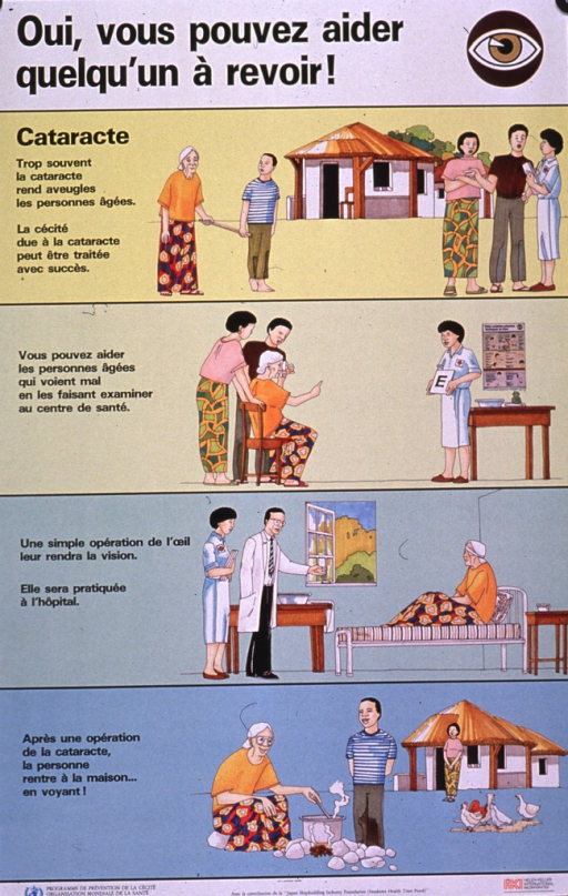 <p>Multicolor poster with black lettering.  Title at top of poster.  Additional text on poster explains cataracts as a common cause of blindness in the elderly, how to help by taking someone for an exam, that an operation can correct cataracts, and that the patient can return home with sight restored.  Visual images are illustrations of a family--including an elderly woman being led by a boy--and a health worker, the woman receiving an eye exam, the woman in the hospital with one eye bandaged, and the woman tending a fire in front of her home.  Publisher and sponsor information at bottom of poster.</p>