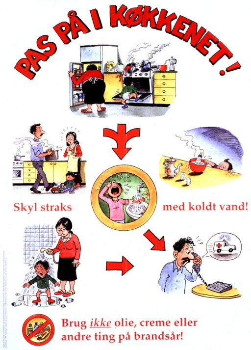 <p>White poster with red lettering.  There are six color cartoons illustrating home safety hazards involving actual or potential injury to a child.  In the topmost cartoon, a baby in diapers crawls into an opened stove, while a pot of boiling liquid on top of the stove is about to tumble onto the baby's head.  The mother is preoccupied and leans into a refrigerator with her back to the child.  From the top cartoon there issues a multi-pronged red arrow.  This arrow points to cartoons on the left and right that show respectively a baby and a small child on the verge of getting burned with hot liquid.  In the left cartoon, a man carries a pot of hot liquid across a kitchen. He is about to step on the bed of a small truck with which a baby sitting on the floor plays.  A woman looks on with fear.  In the right cartoon a small child reaches up on a counter for a bottle that is warming in a bowl of hot water.  The next cartoon shows a child crying with his burned hand under a running spigot.  An arrow points from this cartoon to an agitated man speaking on a telephone.  A speeding ambulance appears in the dialog bubble above the man.  There is another cartoon at the bottom that shows a mother showering a crying baby.  At the bottom is a circle of creams, lotions, and oils with a diagonal bar across the middle of the circle.  Next to this circle is a message about not using such ointments to treat skin burns.</p>
