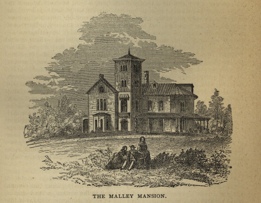 <p>An engraving of the front of the Malley mansion in Connecticut. It shows a large three-story home with a four-story square tower and a long drive path curving up to the front of the home. In the forefront are three people. A man and a woman are sitting while another woman stands to their left.</p>