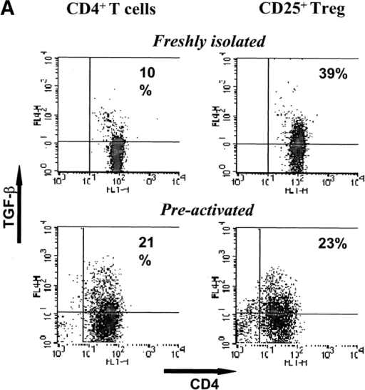 The suppressive activity of human CD25+ Treg cells is independent from membrane-bound TGF-β. CD4+ and CD4+CD25+ T cells were isolated from buffy coats of healthy volunteers by positive selection using paramagnetic beads. (A) Surface expression of TGF-β by freshly isolated CD4+ T cells and CD25+ Treg cells in comparison to the same T cell populations preactivated for 48 h with anti-CD3 (OKT3, 1 μg/ml) and anti-CD28 mAb (CD28.2, 2 μg/ml). The figure shows the expression of TGF-β (LAP-biotinylated) detected by streptavidin-Cy5 and CD4 (RPAT4-FITC). (B) CD4+ T cells (105 cells per well) or CD25+ Treg cells (105 cells per well), alone or in coculture (1:1), were stimulated with allogeneic mature DC (104 cells per well) or by anti-CD3 (1 μg/ml) plus anti-CD28 mAb (2 μg/ml). Neutralizing anti-TGF-β mAb (10 μg/ml) was added to the cocultured cells as indicated. 3[H]Tdr was added after 3 (polyclonal stimulation) or 4 d (allogeneic MLR) of culture for the final 16 h.