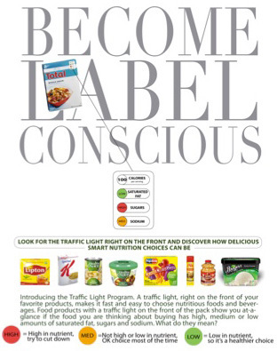 Sample public service advertisement explaining interpretation of front-of-package labeling system.