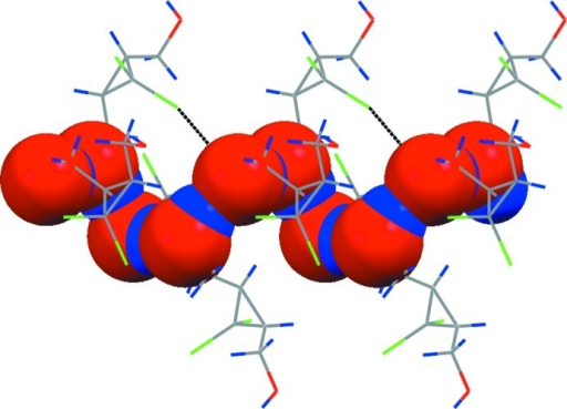 Left-handed hydrogen-bonded helix (oxygens are in red and hydrogens - in blue), running along a-axis with supporting halogen bonding interactions, shown as black dotted lines.
