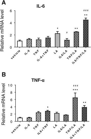 Effect of cytokines on gene expression ofIl6(A) andTnfα(B) in Caco2 cells. Differentiated Caco2 cells were pre-treated with or without r-h-TNF-α (20 ng/ml), r-h-IL-6 (20 ng/ml) or their combination for 72 h before changing into the medium with or without LA (1 mM) for 24 h. The mRNA levels of both Il6 and Tnfα were measured by real time RT-PCR. *P < 0.05, **P < 0.01, ***P < 0.001 vs. vehicle control; and #P <0.05, ###P <0.001 vs. LA.