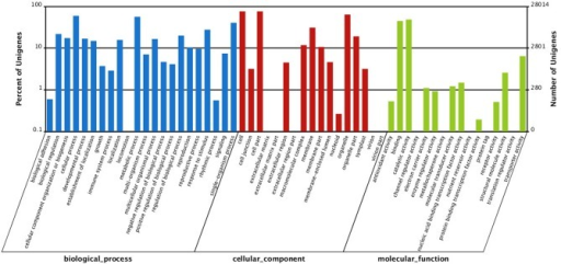 Gene Ontology (GO) classification of all unigenes. They are classified into three GO categories: biological process (blue), cellular component (red), and molecular function (green).