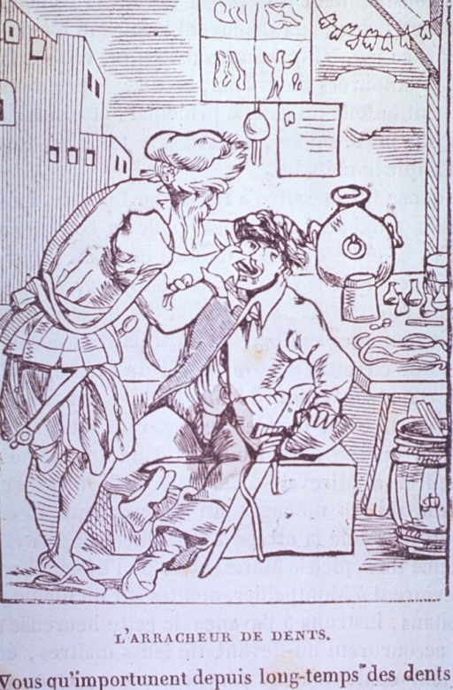 <p>A toothpuller pulls a man's tooth, while his diploma hangs in the air above.  A market scene with verse appearing below.</p>