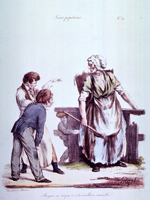 <p>Caricature:  A group of children are taunting an old woman with a basket on her back; she is holding a stick that is used to pick up rags.</p>