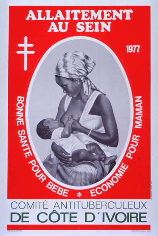 <p>Red and white poster with white and green lettering.  Title at top of poster.  Visual image is an oval-framed illustration of a woman breastfeeding her baby.  Caption partially encircles illustration.  Publisher information at bottom of poster.</p>