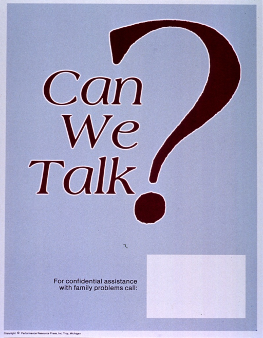<p>Gray poster with maroon lettering.  Title near center of poster.  Closing question mark for title is oversized and dominates poster.  Space near bottom of poster for contact information, though none given.  Publisher information at bottom of poster.</p>