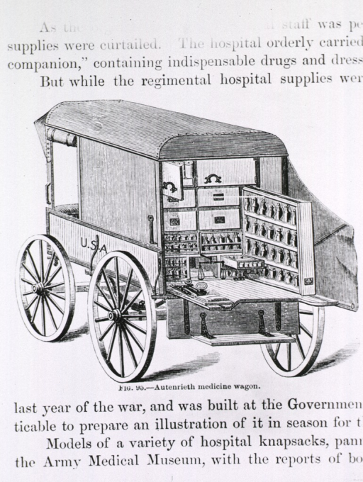 <p>Autenrieth medicine wagon.  View from the back with workplace opened; and view from side.</p>